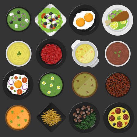 Zestaw ikon żywności. Ikony potraw, widok z góry. Ilustracja wektorowa