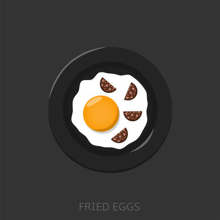Fried egg with sausages on the black plate Top view