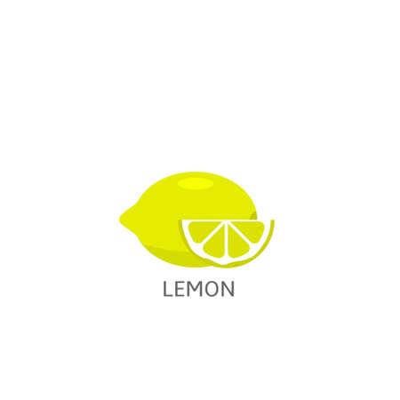 Lemon. Yellow lemon with slice isolated over white background Vector illustration
