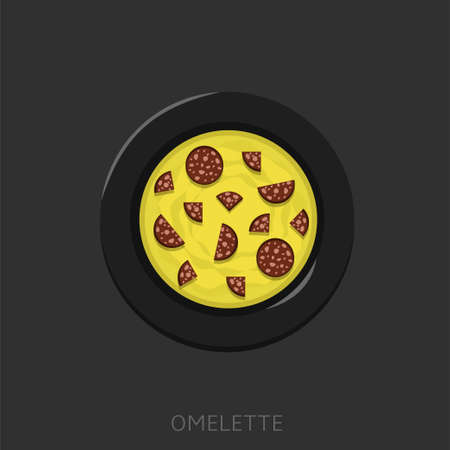 Omelette. Fried eggs with sausages in a black plate Top view Vector illustration