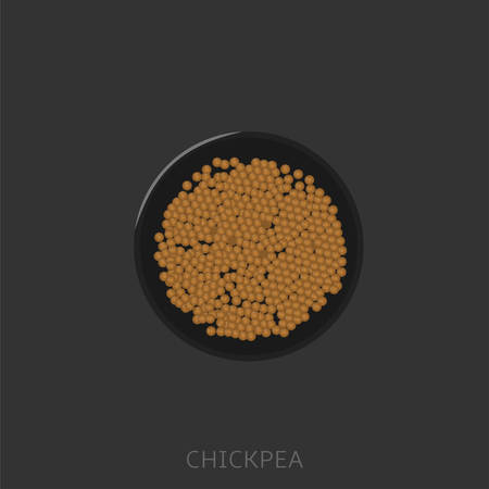 Chickpea. Chickpeas in a black bowl, Top view Vector illustration