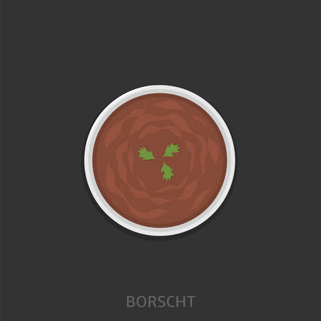 Borscht. Borsch in a white plate, Ukrainian and Russian traditional dish Top view Vector illustration Ilustracja