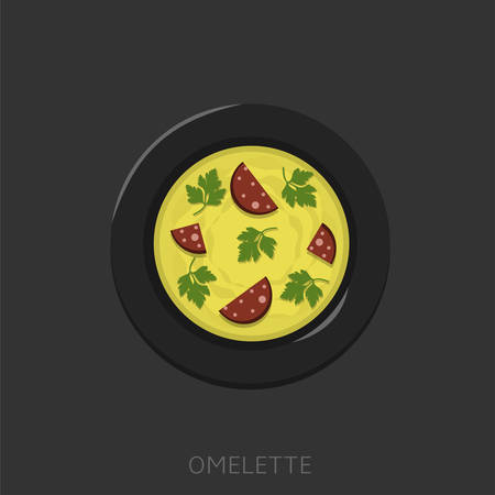 Omelette. Fried eggs with green parsley and sausages in a black plate Top view Vector illustration
