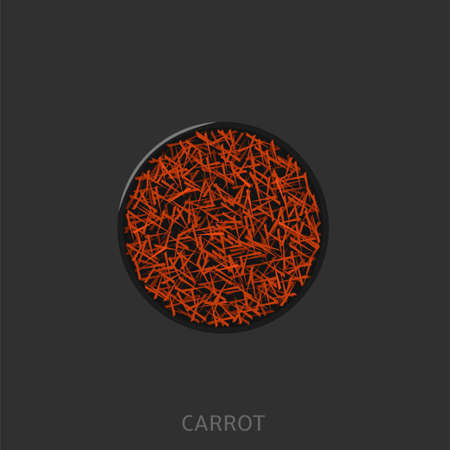 Carrot. Orange sliced ripe fresh raw carrot in black plate, chopped up vegetable Top view Vector illustration Vectores