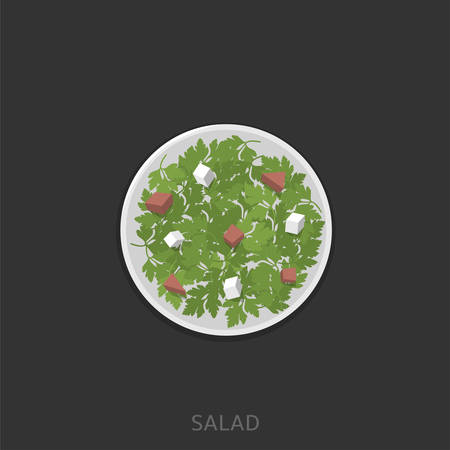 Salad. Green salad with cheese and sausages in the white plate Vector illustration