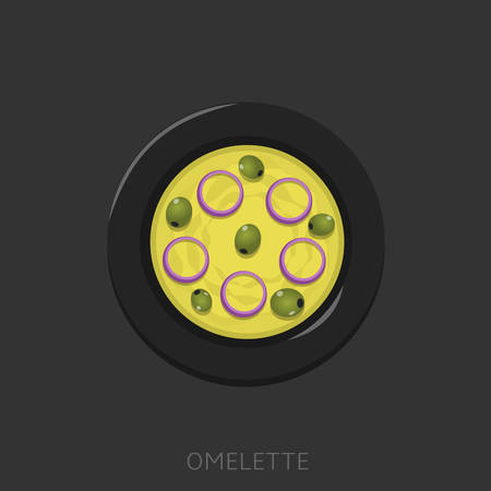 Omelette. Fried eggs with green olives and onion in a black plate Top view Vector illustration