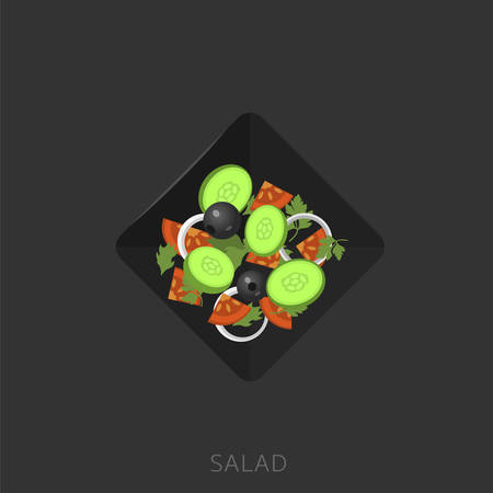 Salad. Salad with cucumbers, black olives, onion and tomatoes in the black plate Vector illustration