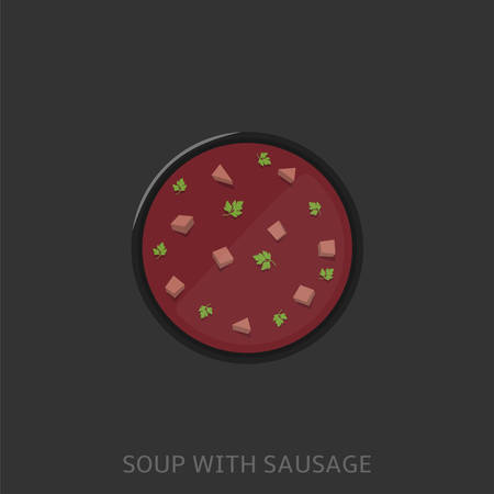 Soup. Soup with sausages in the black bowl Vector illustration