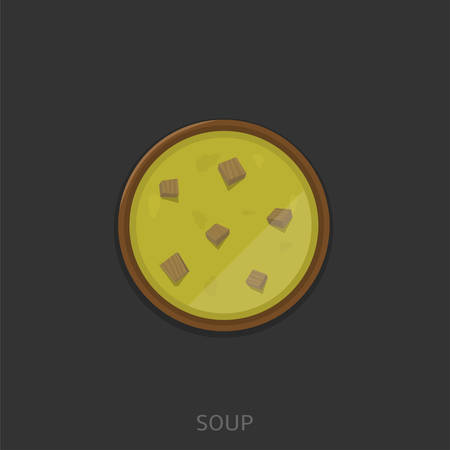 Soup. Soup with pieces of meat in the wood bowl Vector illustration
