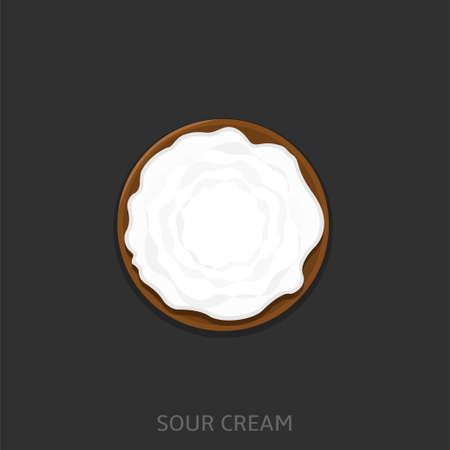 Sour cream. Homemade Yogurt in the wooden bowl Vector illustration Vettoriali