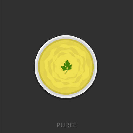 Puree. Mashed potatoes in the white bowl Vector illustration