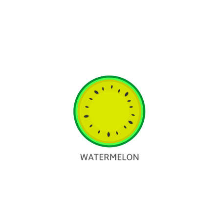 Watermelon. Yellow Watermelon icon isolated, Summer time concept Vector illustration