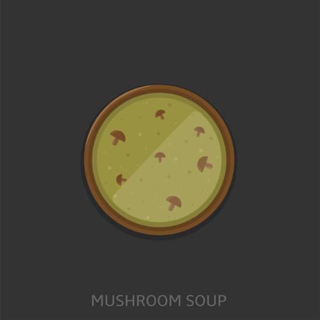 Mushroom soup. Mushroom soup in a bowl, Top view Vector illustration Illustration