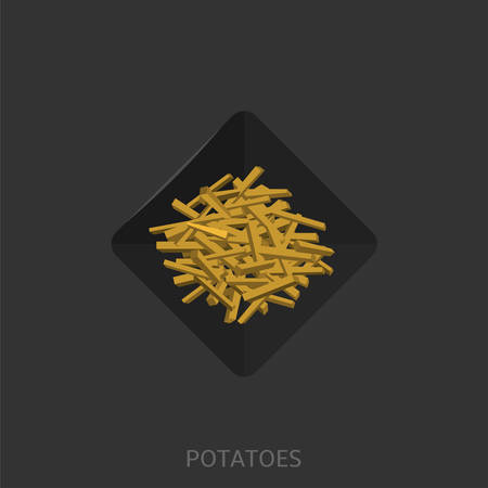 French fries. Fried Potatoes on the black plate Fastfood concept Vector illustration