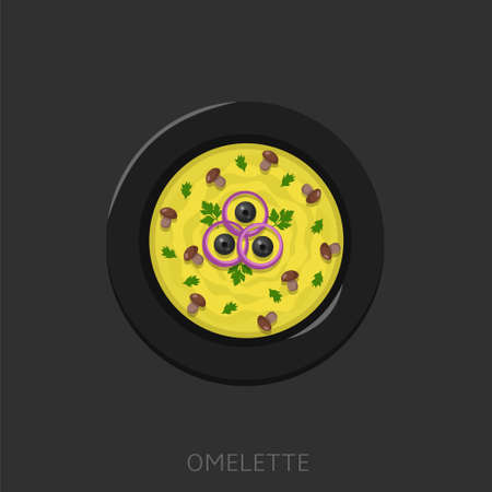 Omelette. Fried eggs with black olives, mushrooms and onion in a black plate Top view Vector illustration Illustration