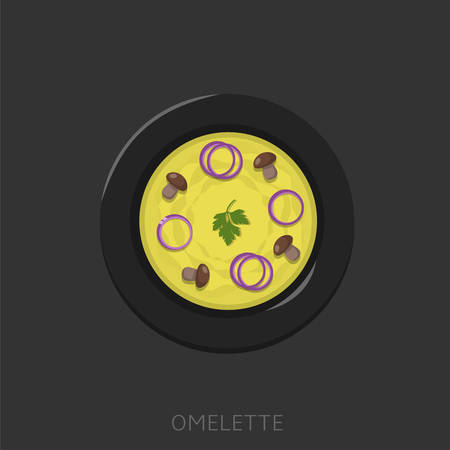 Omelette. Fried eggs with parsley, mushrooms and onion in a black plate Top view Vector illustration