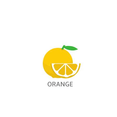 Orange. Whole Orange fruit and slice over white background Vector illustration