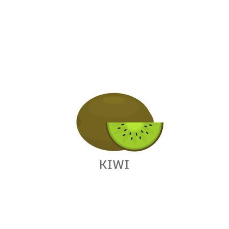 Kiwi. Ripe fresh Kiwi fruit isolated over white background Vector illustration