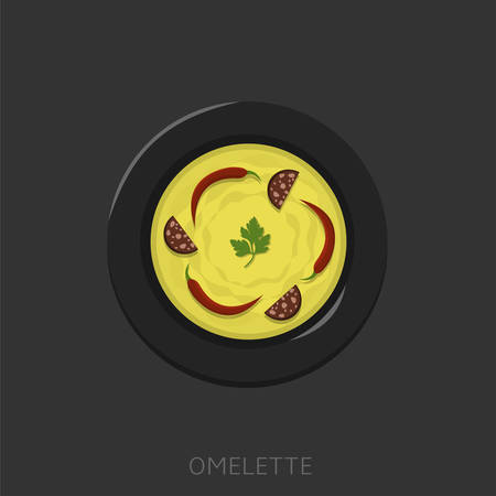Omelette. Fried eggs with green parsley, sausages and red peppers in a black plate Top view Vector illustration