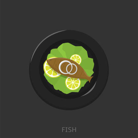 Fish. Fried fish with lemons, green salad and onion on the black plate Seafood Top view Vector illustration Illustration