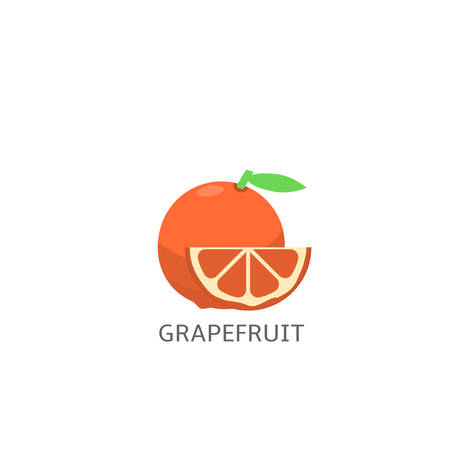 Grapefruit with slice isolated over white background Vector illustration Illustration