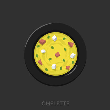 Omelette. Fried eggs with green parsley, sausages and chees feta in a black plate Top view Vector illustration
