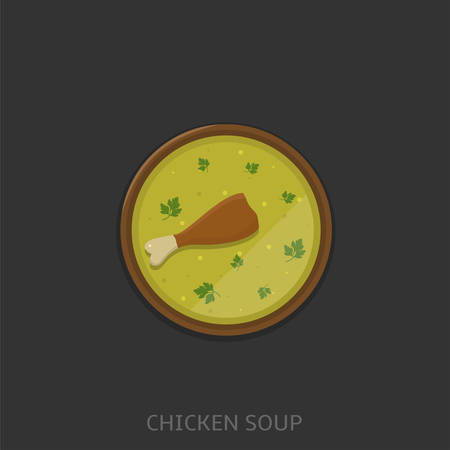Chicken soup. Chicken soup in a bowl, Top view Vector illustration