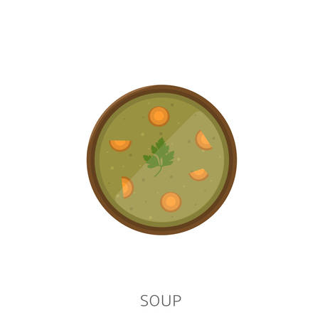 Soup. Soup with carrot and parsley in the wood bowl Vector illustration
