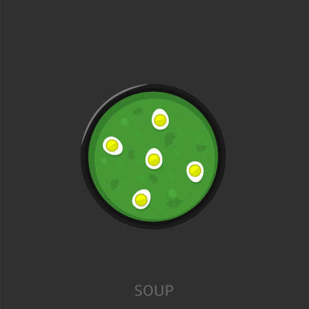 Soup. Soup with eggs and parsley in the wood bowl Vector illustration