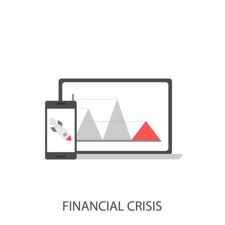 Financial crisis. Business crisis concept, red arrow sign graph, falling rocket, phone and laptop Vector illustration