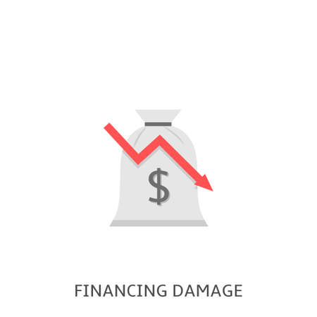 Financial damage. Money bag with dollar sign and red decline arrow symbol Vector illustration