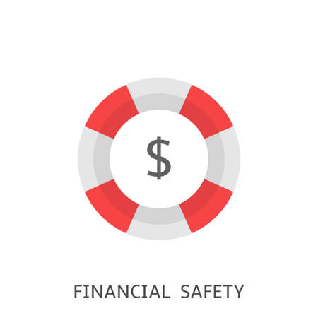 Financial safety. Lifebuoy with dollar sign, Vector illustration