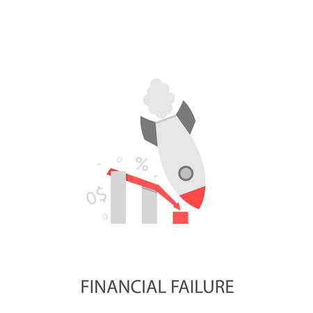 Financial failure. Failure startup concept, falling rocket and declining graph Vector illustration Illustration