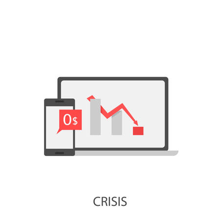 Crisis. Crisis concept, red arrow sign, phone and laptop Vector illustration