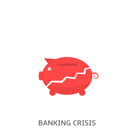 Banking crisis. Red broken piggy bank, bankruptcy concept Vector illustration