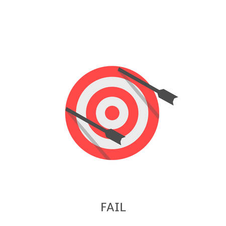 Fail. Arrows with miss archery target, Vector illustration Ilustrace