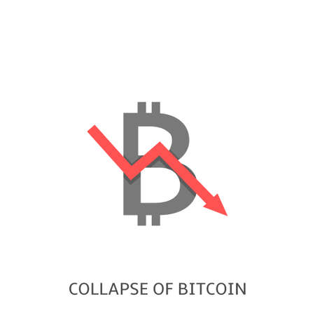 Collapse of Bitcoin. Bitcoin symbol with red arrow, financial crisis concept Vector illustration