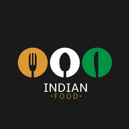 Indian food icon. Indian flag symbol Spoon fork and knife icons
