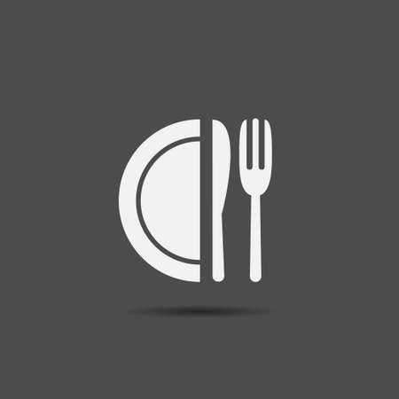 Fork knife and plate icon Cafe or restastaurant symbol Food icon. Vector illustration
