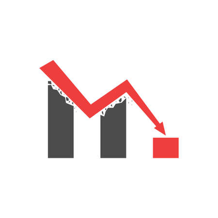 Negative trend. Declining graph, red arrow Vector illustration Reklamní fotografie - 123213039
