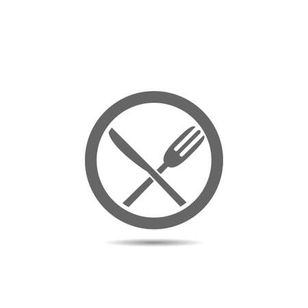 Fork, knife and plate logo icon. Restaurant or cafe symbol, Vector illustration