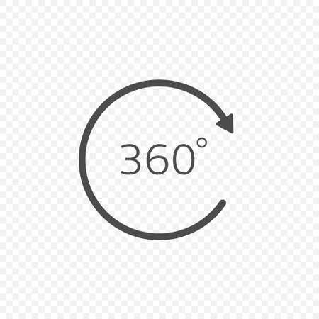 360 degree angle icon. Circle arrow sign, Vector illustration Çizim