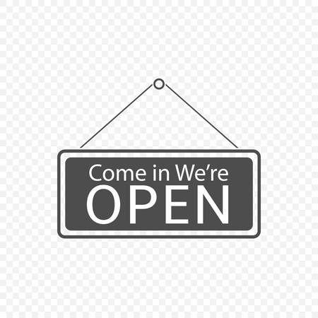 Come in We're Open Hanging sign icon isolated. Vector illustration Vettoriali