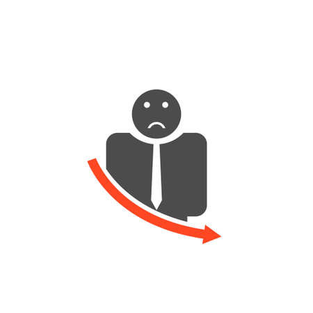 Unsuccessful Businessman with red icon . Vector illustration Çizim