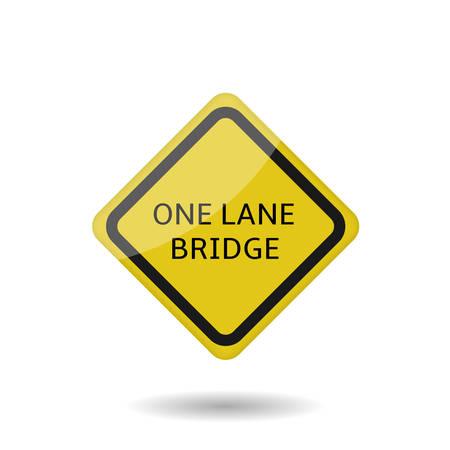 One lane bridge sign. Yellow Warning symbol, Vector illustration