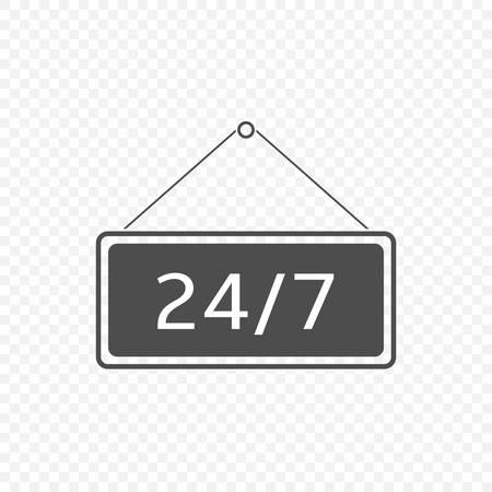 Open 24 hours Hanging sign. 24/7 symbol Vector illustration
