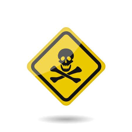 Danger vector sign. Yellow warning badge, Skull and bones Vector illustration