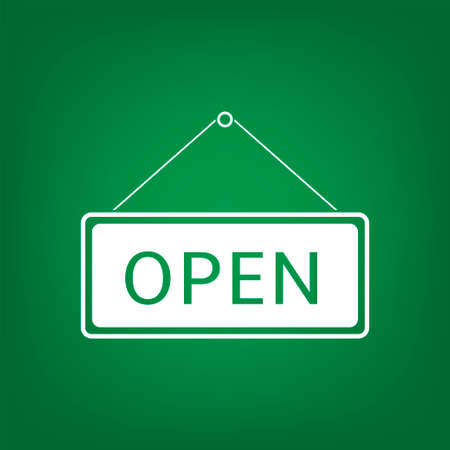 Simple Open Hanging sign isolated over green background. Vector illustration