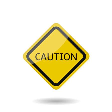 Caution sign. Yellow warning icon, Vector illustration