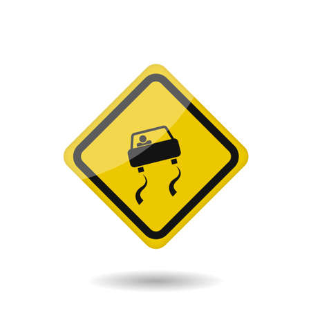 Yellow warning slippery road sign. Vector illustration